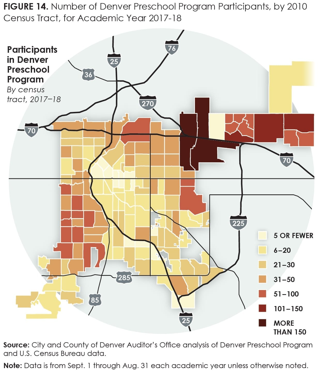 Figure14_Number of Denver Preschool Program Participants, by 2010 Census Tract, for Academic Year 2017-18