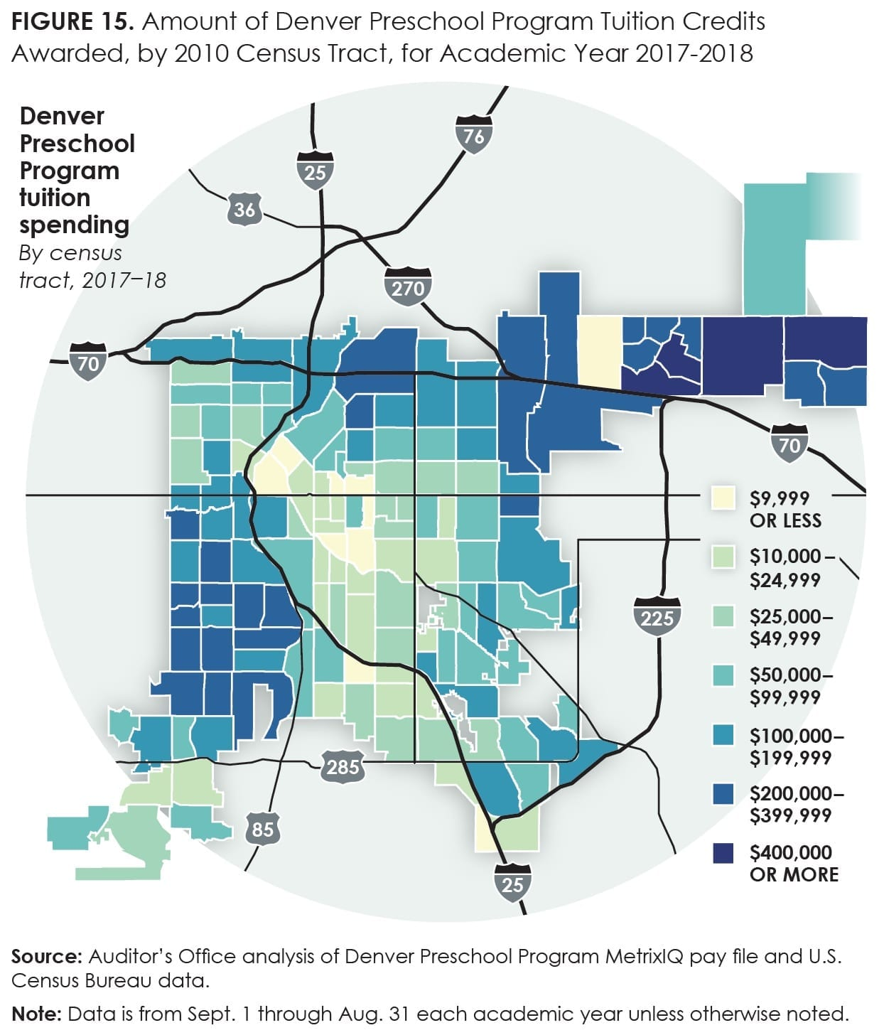 Figure15_Amount of Denver Preschool Program Tuition Credits Awarded, by 2010 Census Tract, for Academic Year 2017-18